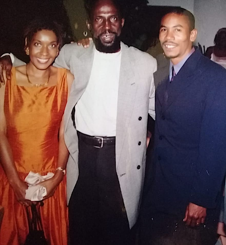 The Sweetest Mango premiere celebrity guest Caribbean Film Icon Carl Bradshaw with film producers Howard Allen and Mitzi Allen of HaMaFilms, Antigua February 16th 2001